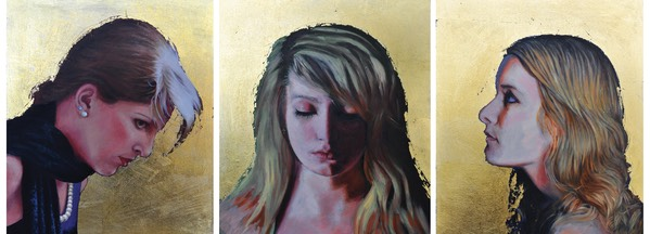 Triptych: 'Nyx, Eos and Dysis' each 11x11cm Oil and Gold Leaf on Board